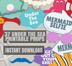 37 Under the Sea Party Props, diy mermaid party photobooth props, Under the sea photo booth prop ideas, ocean party supplies, printable prop by YouGrewPrintables on Etsy