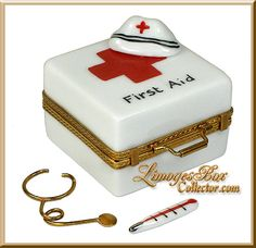 First Aid Kit with Nurse Hat, Thermometer & Stethoscope Limoges box, an Exclusive Limoges by Beauchamp, www.LimogesBoxCollector.com, Limoges Box Specialists, Nurse Gifts, Medical Gifts, Nurse Collectibles, Limoges Boxes for Every Taste & Budget.