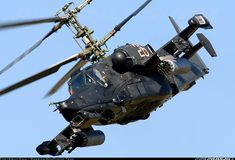 """The Kamov Ka-50 """"Black Shark"""" is a single-seat Russian attack helicopter with the distinctive coaxial rotor system of the Kamov design bureau."""