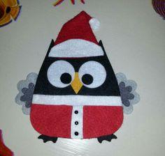 Gufo babbo Natale in feltro ♡ ... owl ... chouette ... hibou www.facebook.com/lemaninelaboriose2