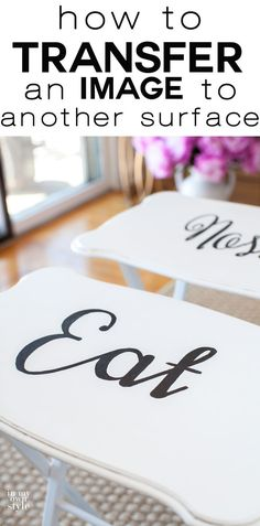 Painted wood furniture makeover. Click to see what you can use from your kitchen to transfer typography or images to furniture and more. It is simple and an easy way to add personality to your furniture makeovers. | In My Own Style