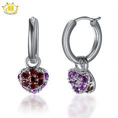 Hutang Natural Amethyst & Garnet Heart Earrings Double Size Solid 925 Sterling Silver Gemstone Fine Jewelry Women's Gift New