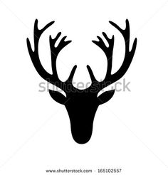 illustration of a deer head silhouette isolated on white, eps10 vector - stock vector