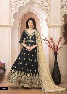 6f776bde01 Floor Length Anarkali Suit · Classic Heavy Embroidery Bangalori Silk Black  Color Anarkali Suit