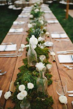 backyard moss wedding centerpiece via Wedding Michelle Gardella Photography