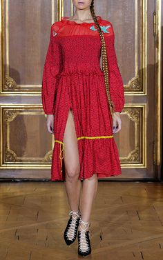 Embroidered Open Shoulder Smocked Drawstring Dress by AZEDE JEAN-PIERRE for Preorder on Moda Operandi