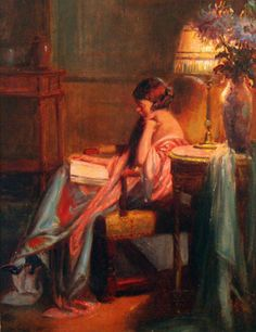 Evening Reading. Delphin Enjolras (French, 1857–1945). Oil on board. Evening Reading is an excellent example of Enjolras' typical work. A woman sits reading in a moment of quiet solitude, a scene that is suffused with the warm, amber light of her reading lamp. The delicate pink of the woman's garment slips down, revealing her bared shoulder, further making it apparent that the viewer has stumbled into a very private and intimate setting. The soft lamplight and the intimacy of ...