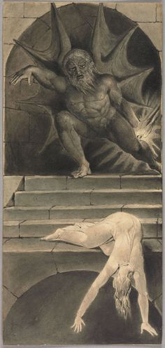 """William Blake: 'Death Pursuing the Soul Through the Avenues of Life', preliminary illustration to Robert Blair's """"The Grave"""", 1805, object 1 (Butlin 635). Pen, ink and water color over pencil on wove paper. Robert N. Essick Collection"""