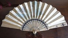 Beautiful Pearly Silk Fan With wonderful painting of Lady in a Rose Garden