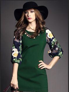 Nail Bead Lantern Sleeve Slim Dress LAVELIQ Sleeve Type: Half Sleeve Sleeve Shape: Regular Collar Type: Round Collar Style: Fashion Model: Regular