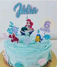 Bolo Frozen, Bolo Laura, Mermaid Cakes, Abstract Line Art, Birthday Decorations, Cake Toppers, Birthday Cake, Desserts, Erika