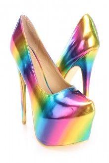Multi Rainbow Gradient Pump High Heels Faux Leather