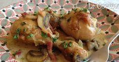 Twittear      Este pollo guisado está acompañado de una salsa hecha con champiñones en láminas, tiras finas de bacon (p... My Recipes, Chicken Recipes, Pollo Guisado, Deli Food, Cilantro, Food And Drink, Yummy Food, Meat, Healthy