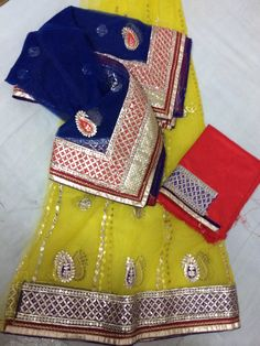 Bright, light weight, delicate and fine gota handworked beautiful bright lehenga. Look gorgeous this summer!