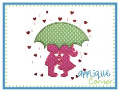 Umbrella Boy and Girl Applique Design