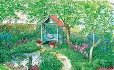 Bäume machen einen Garten erst so richtig gemütlich. Hier finden Sie zwei Beispiele, wie man den hinteren Abschnitt eines Grundstücks unter Obstbäumen stimmungsvoll gestalten kann. (Pflanzplan als PDF zum Herunterladen und Ausdrucken)