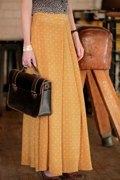 Mustard Maxi Skirt / by schillershop on Etsy, $199.00