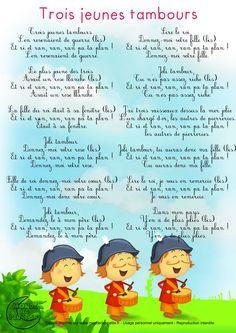 Paroles_Trois jeunes tambours                              … French Education, Kids Education, Preschool Music, Preschool Activities, French Poems, French Kids, French Expressions, Retro Illustration, Teaching French