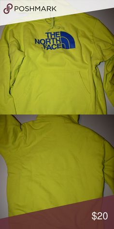 North face hoodie Neon green/ yellow with blue writing. Lightly worn in great condition North Face Jackets & Coats Performance Jackets