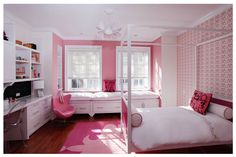 Hot Pink & White mod girls room  Multiple accent walls (color/wallpaper) are a great idea.