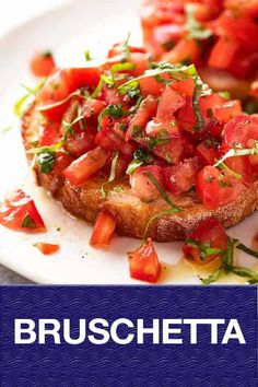 Real Tomato and Basil Bruschetta, made the way Italians make it. Juicy tomatoes, crusty bread, good olive oil basil is all you need! chicken recipes dinners,cooking and recipes Italian Recipes, New Recipes, Cooking Recipes, Favorite Recipes, Healthy Recipes, Bread Recipes, Chicken Recipes, Tapas, Cakepops