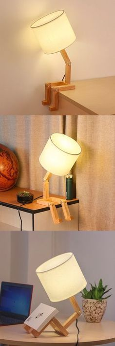 Cute stick figure lamp that will bring a smile to anyone's face. Natural Table Lamps, Diy Furniture, Furniture Design, Objet Deco Design, Diy Luminaire, Creation Deco, Bedroom Night Stands, Wooden Lamp, Stick Figure