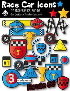 Race Car Racing Icons clipart.   These ** 44 **  graphics are just perfect for adding to your classroom materials and educational products that you sell on Teachers Pay Teachers or other sell sites. Commercial and personal use is ok.