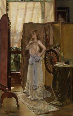L'Étude du Rôle Alfred Stevens (Belgian, Oil on canvas. A young actress is shown rehearsing her role in a full-length mirror. Alfred Stevens, Mary Cassatt, Famous Art Paintings, 24. August, Oil Painting Reproductions, Whistler, Oeuvre D'art, Figurative Art, Oil On Canvas