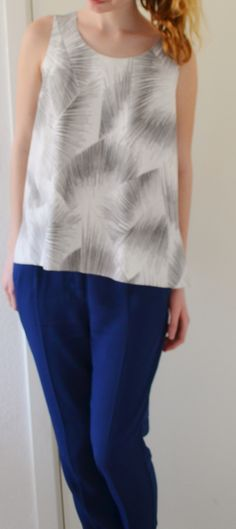 Short sleeves, blue pants, summer outfit, no-black