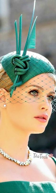 ❈Téa Tosh❈ Lady Kitty Spencer wearing a Philip Treacy fascinator.
