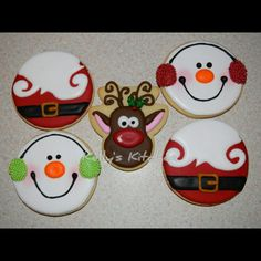 Christmas Sugar Cookies These were the designs I settled on this year for my Christmas sugar cookies. The snowman and reindeer are both. Iced Sugar Cookies, Christmas Sugar Cookies, Christmas Snacks, Holiday Cookies, Christmas Candy, Cupcake Cookies, Christmas Baking, Santa Cookies, Cupcakes