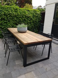 Pin on Pools, patios, and outdoor spaces Pin on Pools, patios, and outdoor spaces Concrete Outdoor Table, Diy Outdoor Table, Outdoor Dining Chairs, Diy Patio, Outdoor Spaces, Modern Dinning Table, Garden Table And Chairs, Wooden Dining Tables, Patio Table