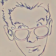 A little #Prisma remix of a pen #doodle #sketch #drawing from 2003 of #NewWave pop dude #ElvisCostello.  #art #80s