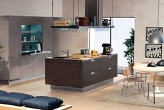 Kitchen, Cucine Arclinea Wood Counter Kitchen Breakfast Bar Recessed Lighting Kitchen Shelves Black Color And Sink: Modern Italian Kitchen Design From Arclinea #1