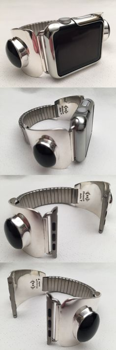 Watches 98502: Handcrafted Native American Black Onyx And Silver Apple Watch Band 42Mm -> BUY IT NOW ONLY: $380 on eBay!
