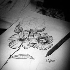 Treinando e treinando • work hard #flower #flores #tatuagem #tattoo #desenho #draw #blackwork #blackworked #lcjunior