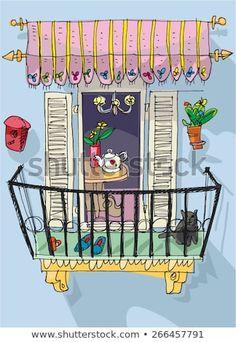 Откройте для себя эту и миллионы других стоковых фотографий, иллюстраций и векторных изображений без лицензионных платежей (роялти) в коллекции Shutterstock. Ежедневно добавляются тысячи новых высококачественных изображений. Doodle Drawings, Cartoon Drawings, Doodle Art, Easy Drawings, Painting & Drawing, Watercolor Paintings, Watercolor Architecture, House Illustration, Simple Doodles