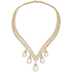 VAN CLEEF & ARPELS 'Lamballe' Diamond & Pearl Drop Necklace |... ❤ liked on Polyvore featuring jewelry, necklaces, accessories, colar, jewels, van cleef arpels necklace, white pearl necklace, back-drop necklaces, jewel necklace and pearl jewellery
