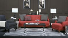 A red sofa will have you rethinking your living room decor. #red #sofa #homedecor