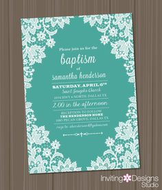 Baptism Invitation, White, Lace, Floral, Customize Your Colors, Girl, Aqua, Teal, Tiffany Blue, Cross (PRINTABLE FILE)