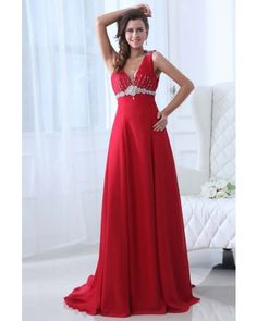 Beaded V-neck Chiffon Long Red Prom Dress | LynnBridal.com