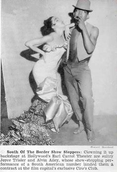 Dancers Alvin Ailey and Joyce Trisler - Hue Magazine, January, 1954 on Flickr. Alvin Ailey and Joyce Trisler backstage at Hollywood's Earl Carrol Theater.