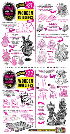 How to Draw WOODEN BUILDINGS CABINS SHACK tutorial by STUDIOBLINKTWICE on DeviantArt