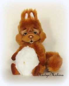 Kostya By Anastasiya Gurova - Squirrel, standing 28 cm with ears made from Italian faux fur, is filled with bamboo fiber and metal granulate. Glass eyes, nose from polymer clay Fimo, tail reinforced, takes any posture. 5 cotter pins.Tinted artistic oil.