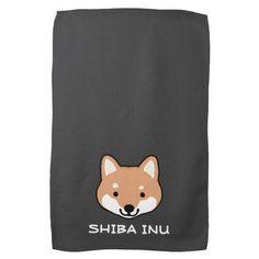 Shiba Inu Cute Dog Face with Custom Text Hand Towel