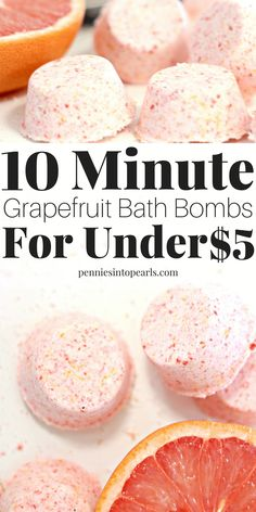 Grapefruit Bath Bomb Recipe that you can make in less than 10 minutes! Not even joking! Plus! All the ingredients for these grapefruit DIY bath bombs wont cost you more than $5 for the entire batch!