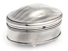 OVAL SILVER JEWELLERY BOX WITH DOMED GILT LID AND SILK LINING