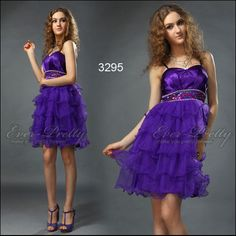 Lovely Spaghetti Strap Cake Layer Purple Cocktail Dresses for Bridesmaids