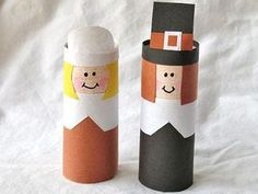 toilet paper roll pilgrims...so cute! They look a little complicated for kindergarten though.