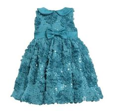 Bonnie Jean Girls Bonaz Sequins Mesh Fall Holiday Dress Teal 24 Months ** Check out this great product. (This is an affiliate link) #BabyGirlDresses